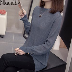 Nkandby Plus Size Bright Silk Pulllover Women 2020 Spring Fashion Korean Solid Sweaters Oversize Knitwear Loose Ladies Knit Top