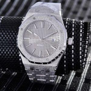 NOVO um lusso mens relógio mecânico FROSTED OURO montre de luxo Todo o aço Tapisserie discar esportes fundo automático data relógio de pulso de vidro