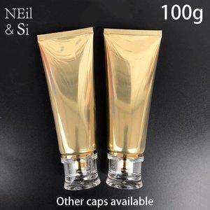 100 ml Oro de plástico blando 100g botella cosmética facial limpiador en crema vacío Squeeze Tubo botellas de champú loción envío