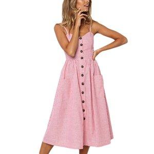 Verão longo boho beach dress mulheres 2019 vestido de verão sexy com decote em v sem mangas cinta listrado impressão senhoras maxi dress dresses t190606 vintage
