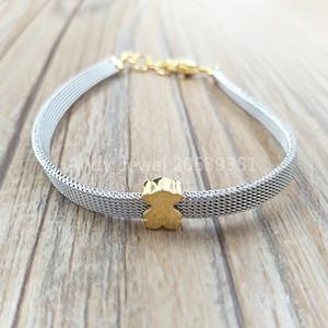Authentique 925 en argent sterling et en acier d'or Icône Mesh Bracelet Fits ours européen Bijoux style cadeau 613101060