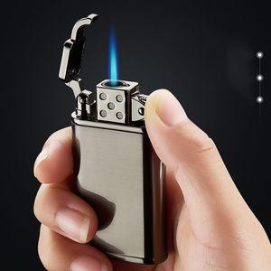 Turbina de alta calidad de la antorcha de metal ligero chorro de butano cigarro fuego de gas de mechero encendedor a prueba de viento del butano por mayor Encendedores