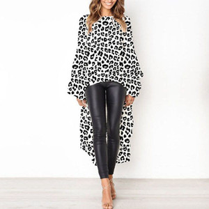 Front Short Back Long Womens 2019 Tops and Blouses Leopard Print Blouse Causal Loose Ruffle Long Sleeve Ladies Blouses Blusas