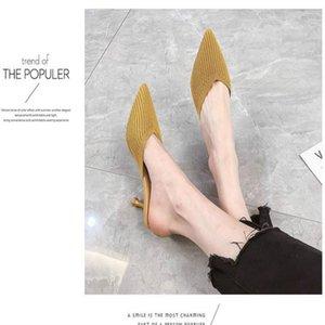 Oro neta perezosos Baotou zapatillas mitad de las mujeres usan el verano 2019 nueva aguja de punto señaló las sandalias de tacón alto atractivo de otoño