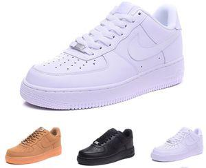 2019New Geliş Bir 1 Dunk Ayakkabı Koşu tüm Siyah Beyaz Erkek Kadın Spor Kaykay Ones Yüksek Düşük Kesim Buğday Kahverengi Eğitmenler Sneakers 36-4