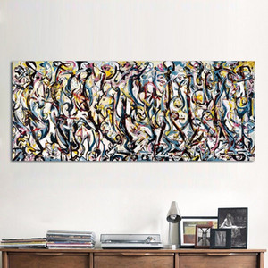 "Jackson Pollock ""Mural"" 1943 Handpainted HD Imprimir Modern Abstract Graffiti Art pintura a óleo jk12 Home Decor na lona de alta qualidade"
