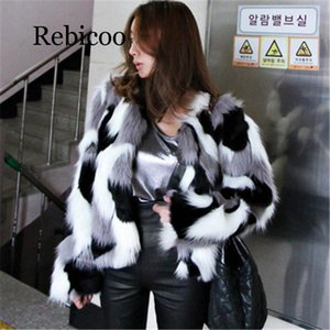 2019 Winter New Imitation Fur coat Big size Women's Loose Leather Imitation  Fur Round Neck Short Ladies Mixed Color Coat
