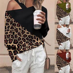 Famale Abbigliamento casual Womens spalla Collare Stampa maglietta di moda della stampa del leopardo che impiomba primavera manica lunga allentato