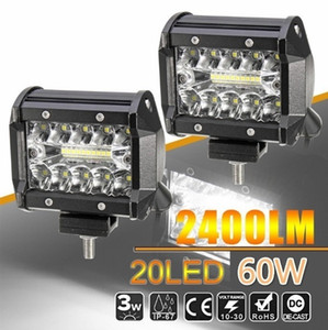 20pcs / lot 4inch Çalışma LED Işık Bar 60W Taşkın Işın 12V 24V Araba Şekillendirme İÇİN cip Kamyon Off Road 4WD ATV UTV Motosiklet Tekne