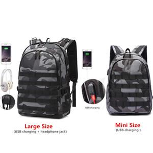 PUBG Backpack Men Bolsa Escola Mochila Pubg Battlefield infantaria Pacote de camuflagem Viagem Canvas USB Headphone Jack Voltar Mochila CJ191210