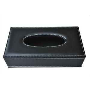 Car Home Rectangle Shaped Faux Leather Case Paper Tissue Box Holder Black Kitchen Storage & Organization