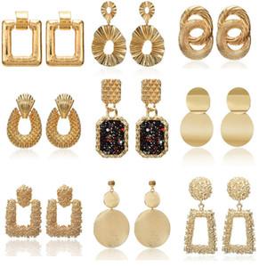 2019 Vintage brincos grandes para as mulheres declaração brincos geométricos cor de ouro pingente de metal brincos tendência moda jóias