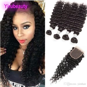 Indian Human Hair Deep Wave Curly Hair Bundles With 4X4 Lace Closure 4 Bundles With Lace Closure Baby Hair Wefts 5 Pieces lot