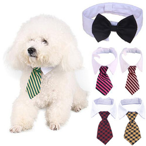 Dog Grooming Cat Striped Papillon Animal righe Bowtie Collare regolabile collare cravatta White Dog cravatta per il partito di nozze XD23255