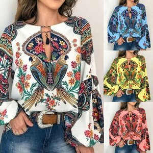 blusa para as mulheres trabalhar ocasional Floral V-Long Neck luva Lantern Oversize Blusa Camiseta Tops blusas S a 3XL para mulheres Plus Size