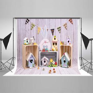 Traum 7x5ft Ostern-Party-Hintergrund Kaninchen Wood House Fotografie Hintergrund Wood Texture Dekor-Wand-Foto Kulisse für Osterferien Schießen