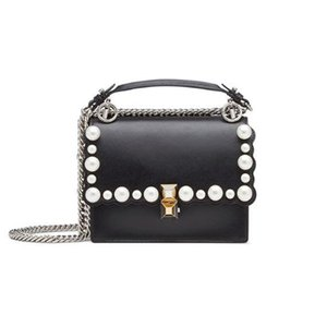 Lucky2019 Morning! Good Head Layer Cowhide Chain Single Shoulder Pearl Decoration Diagonal Package Handbag