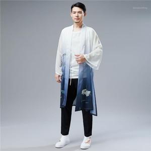 Estilo Chinês vestuário Birds Belt Impresso Mens chinês Cardigans Primavera Dividir Casual Homme Coats 2020 Verão Han