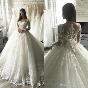 Luxe élégant Applique dentelle à manches longues A-ligne Robes de mariée Sheer Cour du cou train Illusion bouton Retour Dubaï arabe Robes de mariée