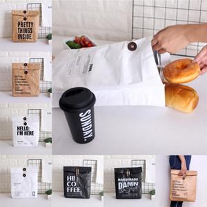 DuPont Bolsa de almuerzo de papel Kraft Bolsa de almacenamiento de alimentos reutilizables Saco con aislamiento duradero Bolsa de papel marrón Kraft portátil Bolsas Picnic Bento