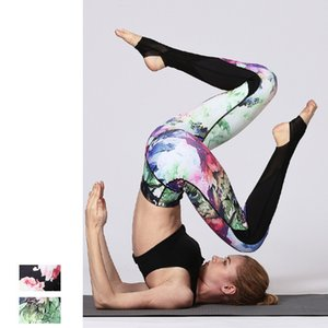 Print Mesh Yoga Pants Quick-drying Sports Leggings Women's Step on Foot Printing Yoga Pants Fitness Pants