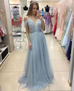 Тюль кружевное вечернее платье спагетти без плеча выпускного вечера платья светло-голубой розовый