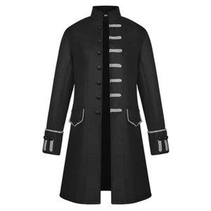 남성 고딕 양식의 승마 코트 르네상스 펑크 파티 코스프레 롱 자켓 의상 블랙 맞춤 슬림 버튼 봄 가을 레트로 자켓 탑