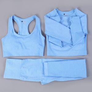 Жизненно важные бесшовные спортивные наборы 3 Pieses йога костюмы для женщин тренажерный зал набор 2 шт спортивная одежда тренировочная одежда фитнес комплекты леггинсы топ бюстгальтер
