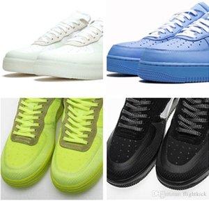 Con una caja de Fuerza 1 Offs MCA Azul Blanco Rojo metálico de plata de los hombres zapatos casuales zapatos de diseño Volt 2.0 Bajo Negro MoMA y verdes