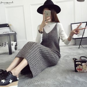 Autumn New Womans Strap Knit Dress Solid Color Female Straight Knitted Midi Dress All Match Winter Basic Casual Spaghetti Dress