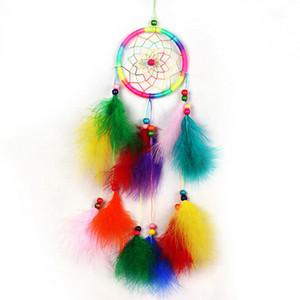 Carillones de viento hechos a mano Indian Dream Catcher Net con plumas 55 cm colgar en la pared Dreamcatcher Craft regalo decoración del hogar