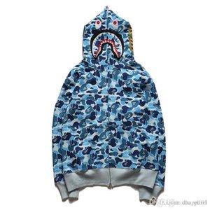 Giapponese Camo Maglia Rosa Blu Verde Tre colori Camo incappucciato del cappotto del maglione Lover Shark Bocca di stampa di personalità Zipper Hoodie