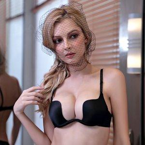 Las mujeres sin respaldo lencería sexy T Bras ropa interior profunda T escotado empuja el sujetador insinúa ECMLN Mujer transpirable Bralette
