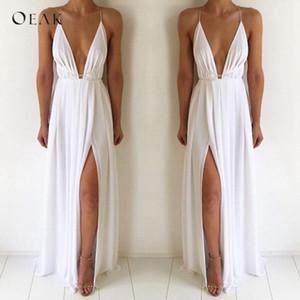 OEAK Sexy cuello en V sin mangas del vestido del verano de las mujeres blanca vestido largo maxi Alta Parte manera de la cintura del vendaje de playa de Boho Vestido