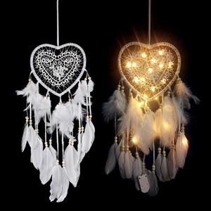 Las plumas hecho a mano del corazón del LED Luz Colector ideal candente casa ornamento colgante de pared de la decoración de fuentes del regalo del carillón de viento Craft