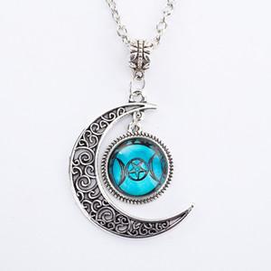 Chaîne Argent Triple Déesse de la Lune Noire collier pendentif bijoux Wiccan Moon Goddess verre Dôme Pentagram ras du cou Femmes