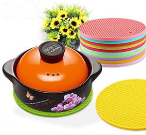2018 Ronda de silicona antideslizante Aislamiento resistente al calor Ollas de mesa Holder Coaster Cushion Placemat Pot Table Placemat DH0169