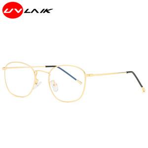 UVLAIK mayor-Anti-azul Hombres Mujeres marco de los vidrios de la textura de la aleación clásico óptico 0 grados de alta definición lente unisex filtro azul Gafas