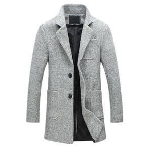 2018 Nueva Moda Trench Coat Hombre 40% Lana Gruesa Invierno Hombre Abrigo Pea Trench Coat Chaqueta Masculina