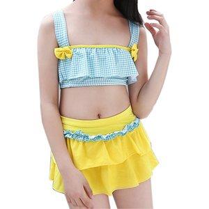 Dot Print Bikinis Girls Split Bikini Swimwear Girl Children Kids Underwear Swimwear Swimsuit with Skirt Biquini Bathing Suit