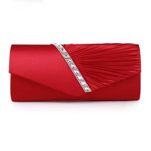 Women's Pleated Crystal-Studded Satin Handbag Evening Bag Clutch Bag Purses