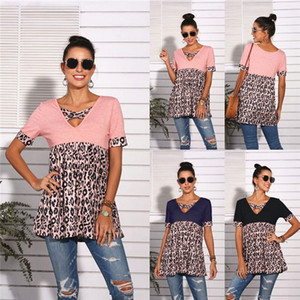 Remiendo del leopardo de las mujeres de verano de diseño en las camisetas de manga corta cuello V camisetas camisas sport Moda suelta Vestido de tirantes para mujer