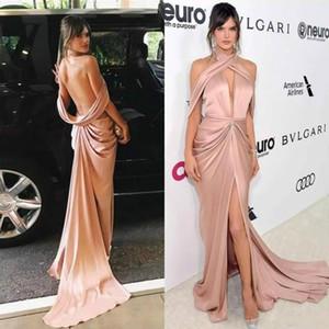 2020 Sexy Zuhair Murad Выпускные платья Глубокий V шеи Red Carpet вечернее платье драпированные Open Назад High Split Пром платья