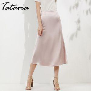 Tataria faldas de talle alto para las mujeres del satén de seda de la falda 2019 A-Line, elegante faldas falda de Midi nuevo estilo de Corea