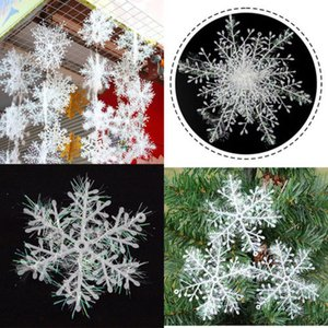 Hot 3PCS Set 3D White Snowflake Christmas Ornaments Christmas Tree Hanging Decoration