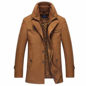 Hommes Longue Section Pardessus épais manteau Caban Woollen Trench hiver chaud Homme Manteau en laine épais Casual Veste coupe-vent