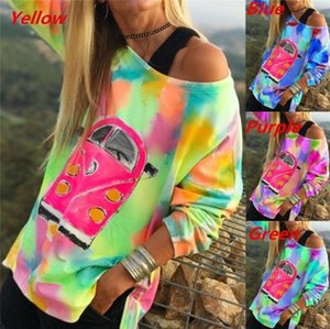 Tops Tie Dye Designer Tshirts Loose Women Casual um ombro Manga comprida Pullover T-shirts Forma Mulheres