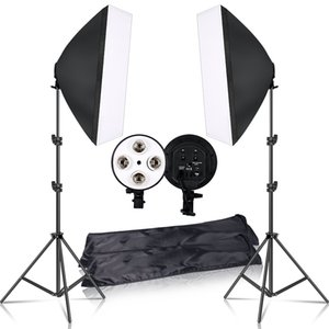 Photography 50x70CM Lighting Four Lamp Softbox Kit With E27 Base Holder Soft Box Camera Accessories For Photo Studio Vedio T200610