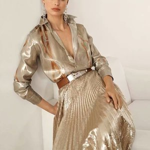 New Fashion High Quality Autumn Party Workplace Sexy Shirts Tops Mesh Sequins Loose Half Skirt Vintage Elegant Chic Women'S Sets