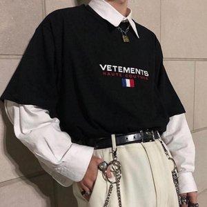 19ss Moda Moda Tee Fransız Bayrağı İşlemeli Kısa Kollu Men and Women Yüksek Kalite Oversize Pamuk Tişört HFBYTX332 mens